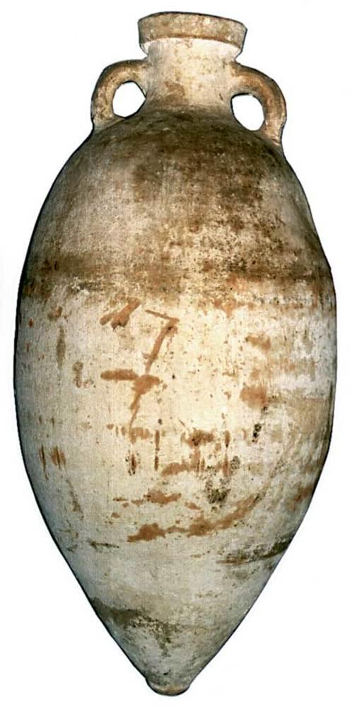 &Agrave;mfora Beltr&aacute;n 85, fabricada a un taller indeterminat, potser del nord d´&Agrave;frica, i trobada a can Vicent des Gorg (Sant Carles de Peralta). Moderadament abundant a les Piti&uuml;ses. Contengut incert, <em>c.</em> 125-75 aC. E. 1:10. Foto: Joan Ramon Torres.