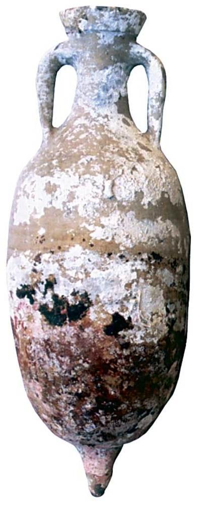 &Agrave;mfora Haltern 70, fabricada a la B&egrave;tica (Andalusia). Moderadament abundant a les Piti&uuml;ses. Extreta d´un punt indeterminat del litoral d´aquestes illes. Contengut: vi, <em>c.</em> 40 aC.-50 dC. E. 1:10. Foto: Joan Ramon Torres.