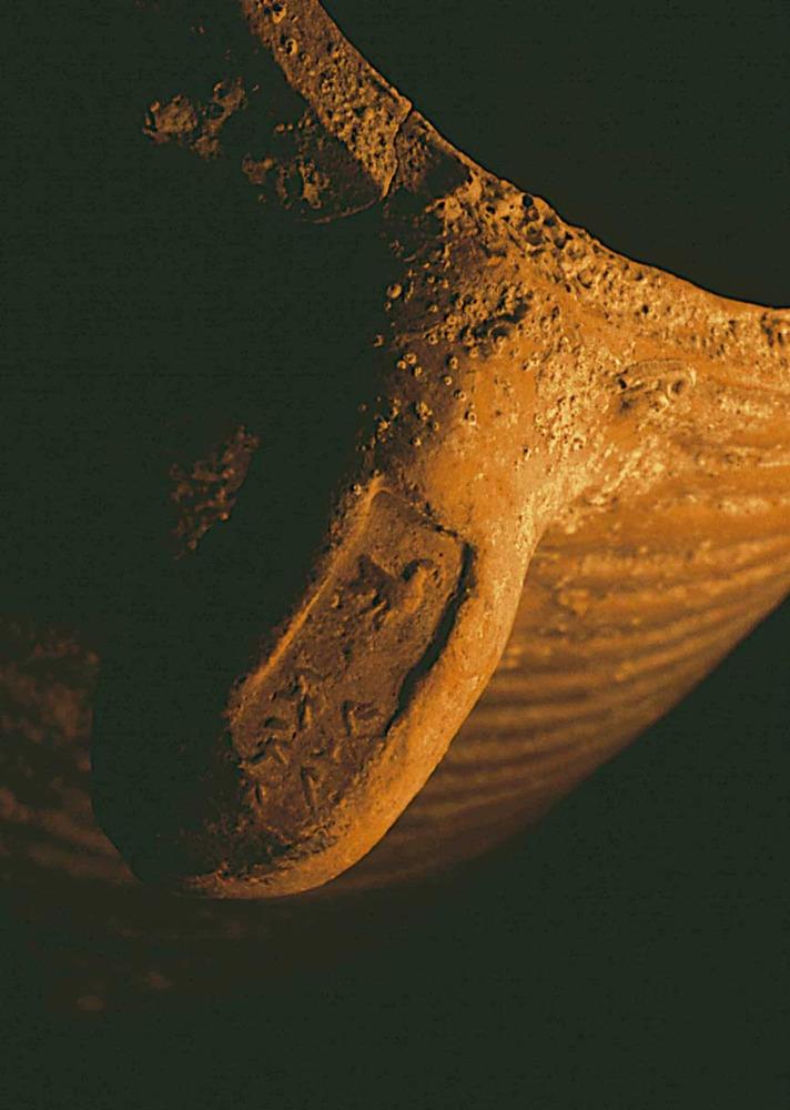 Ansa d´àmfora PE-17, fabricada en un taller d´Eivissa en el segle II aC., amb un segell que representa un colom i el nom del terrissaire o del negociant-envasador (potser de vi). Procedeix del fondejador N de na Guardis (Mallorca). Foto: V. M. Guerrero.