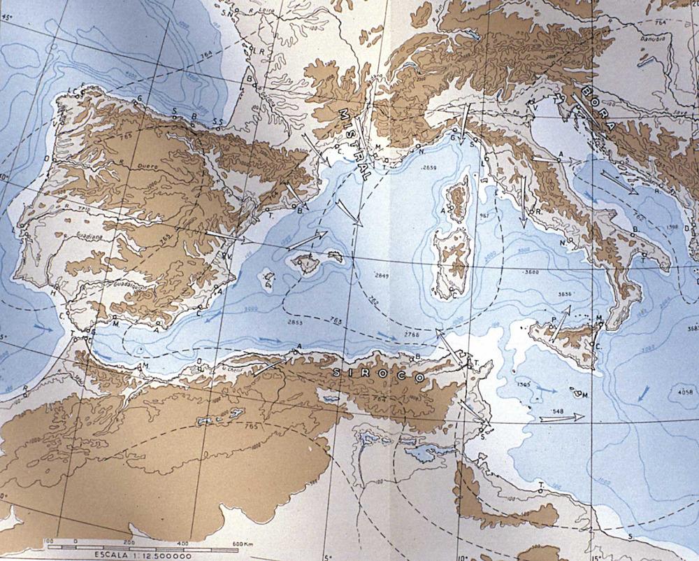 Situaci&oacute; de les illes Balears a la Mediterr&agrave;nia occidental, amb els corrents marins i els vents dominants. Extret d<em>e </em>P. Deffontaines /&nbsp;<em>Joventut 72&nbsp;</em>/ &quot;El Mediterr&aacute;neo&quot;.