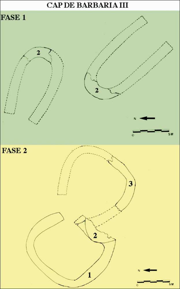 Cap de Barbaria III. Hipòtesi de reconstrucció de les estructures constructives. Elaboració: Benjamí Costa Ribas.