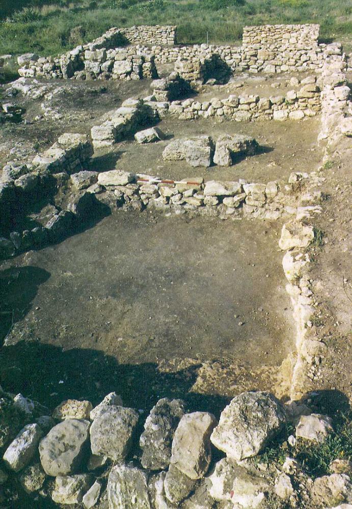 Les pallisses de Cala d´Hort. Habitacions de l´ala N reocupades en època bizantina. Foto: Joan Ramon Torres.