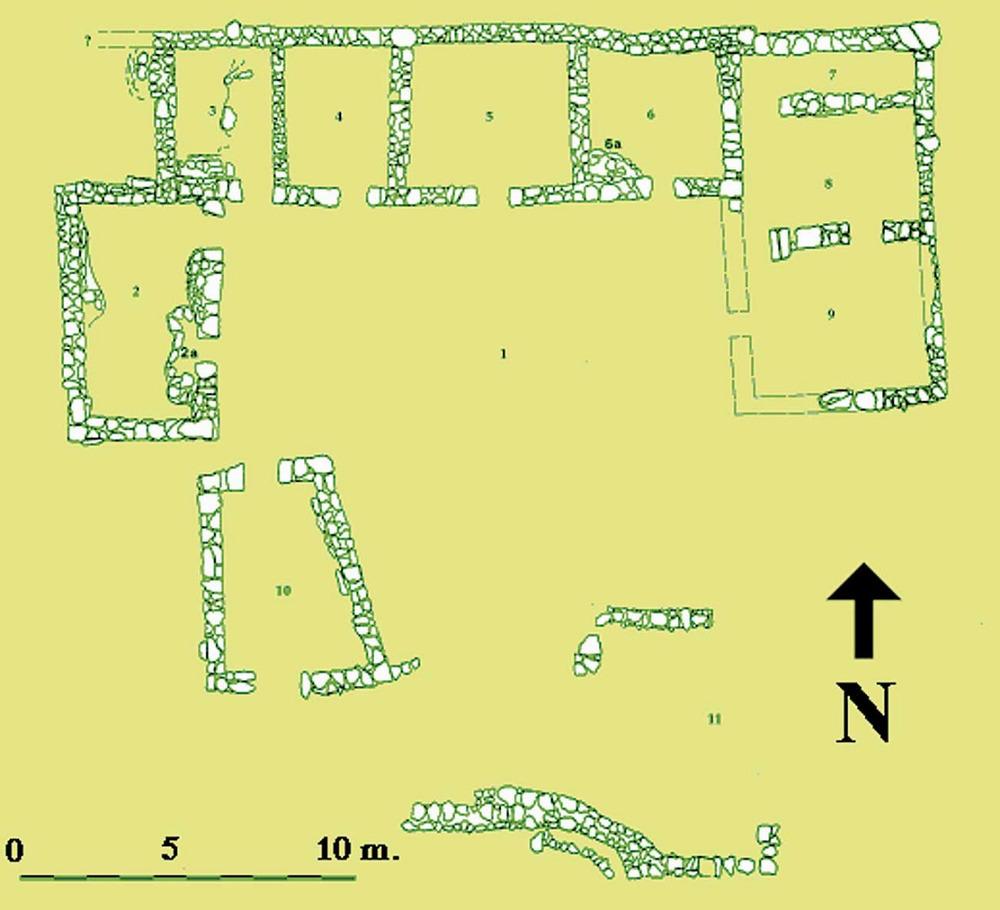 Les pallisses de Cala d´Hort. Planta general de l´edifici A en època bizantina (s. VI-VII dC.). Elaboració: Joan Ramon Torres / J. M. López Garí.
