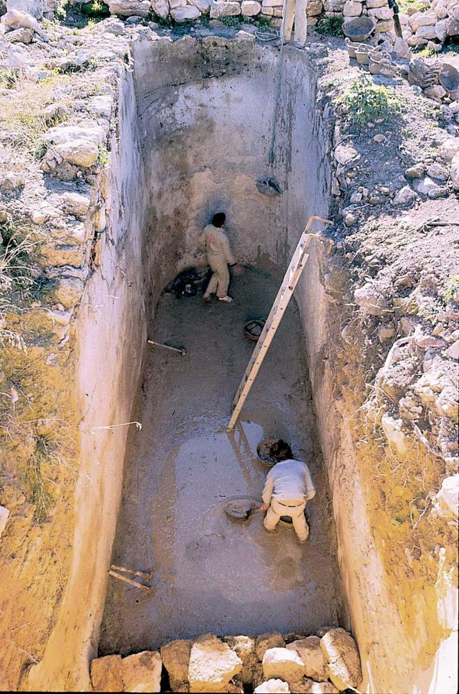 Les pallisses de Cala d´Hort. La gran cisterna biabsidial (s. I dC.) de l´edifici A. Foto: Joan Ramon Torres.