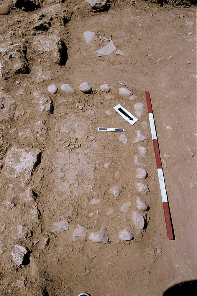 Sa Caleta. Barri NO. Llar rectangular amb plataforma de còdols a l´estança XXXIX (2a meitat del s. VII aC.). Foto: Joan Ramon Torres.