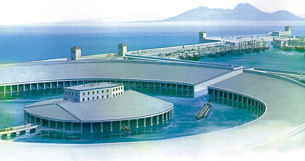 Cartago. Imatge idealitzada dels ports tal com devien ser en època tardopúnica. Reconstrucció feta a partir de dades arqueològiques i de textos històrics. H. R. Hurst / S. C. Gibson.