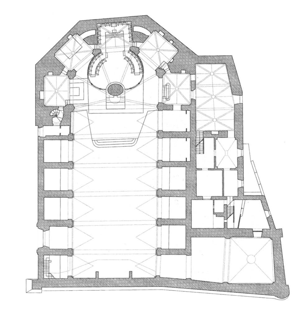 Planta de la Catedral d´Eivissa. Elaboració: Xavier Pallejà i Salvador Roig, arquitectes.