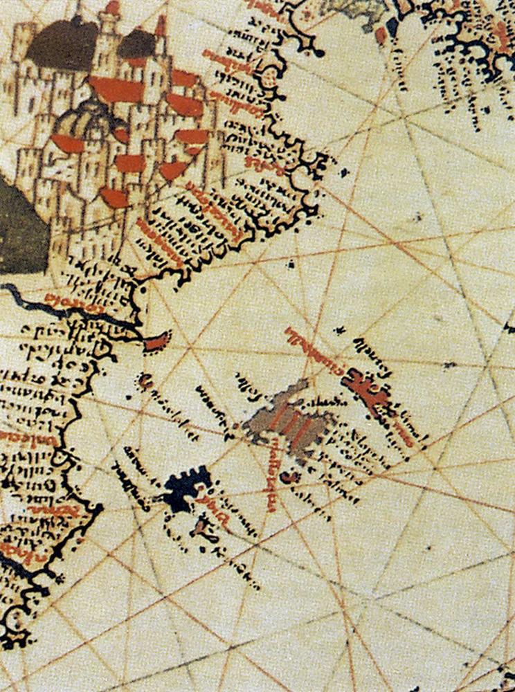 Detall del cartulà de Mateu Prunes, de 1563, en què apareixen els territoris que formaren la Corona de Mallorca.