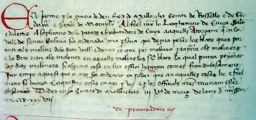 Còpia del <em>Llibre de la Cadena</em> d´un document de Jaume I, monarca que originà l´annexió d´Eivissa i Formentera a la Corona de Mallorca. Foto: Ajuntament d´Eivissa / Arxiu Històric Municipal.