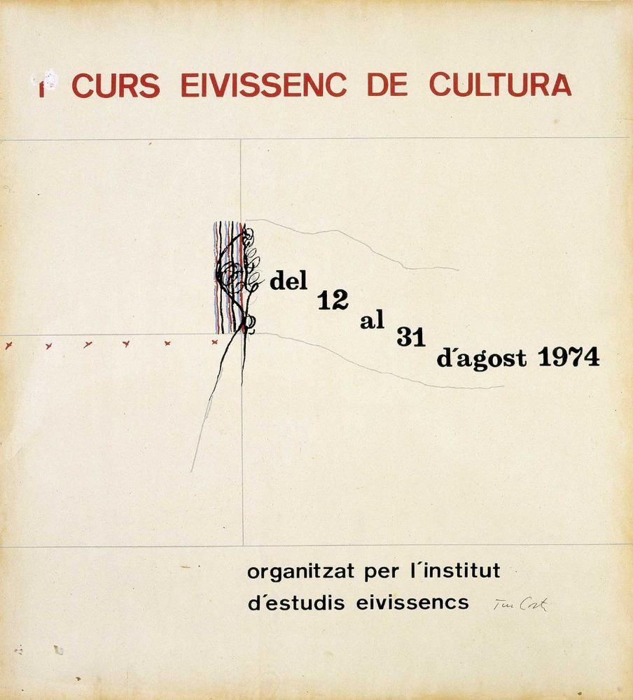 Cartell del I Curs Eivissenc de Cultura, dissenyat per Rafel Tur Costa. Cortesia de l´Institut d´Estudis Eivissencs.
