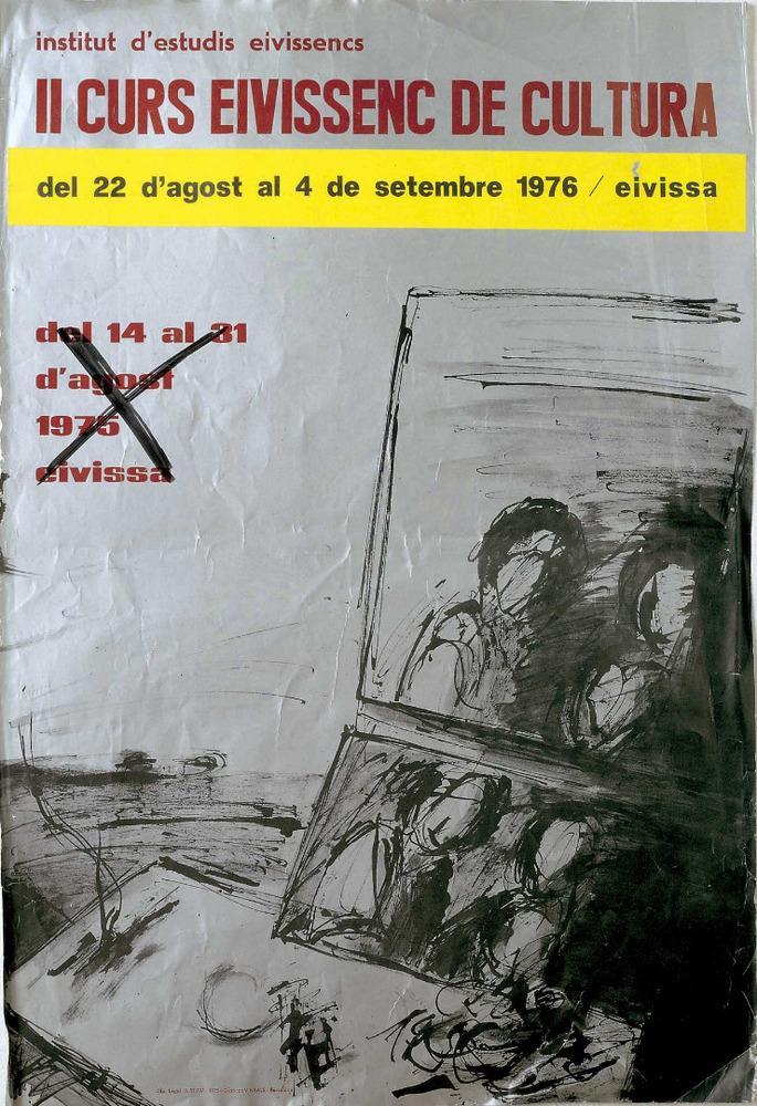 Cartell del II Curs Eivissenc de Cultura, disseny de Vicent Calbet. Cortesia de l´Institut d´Estudis Eivissencs.