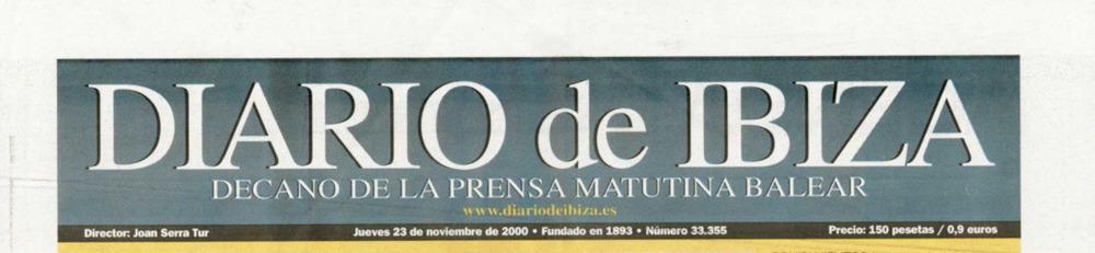 Capçalera del <em>Diario de Ibiza</em> de final del s. XX.
