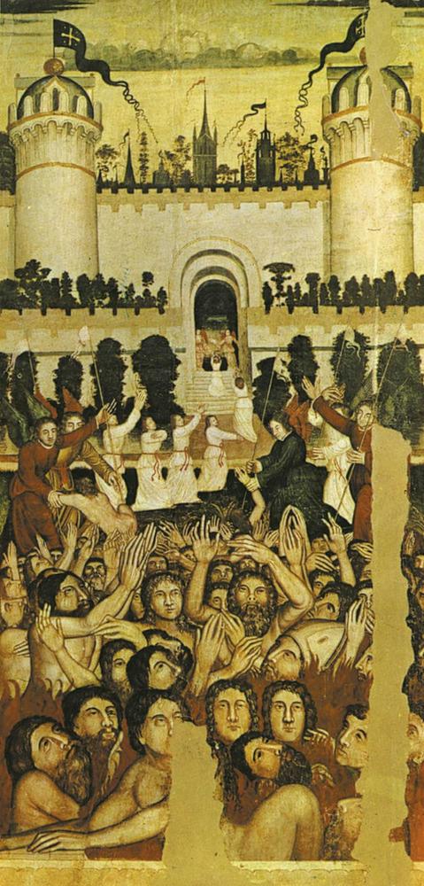 Art. Fragment del retaule de Sant Gregori, de la Catedral d´Eivissa, també del s. XVI, que mostra el purgatori i la porta de la Jerusalem celestial. Postals Durá Velasco / col·lecció Marià Planells Cardona.