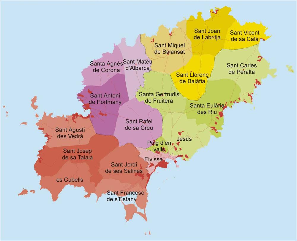 Geografia. Els diferents pobles de l´illa d´Eivissa, agrupats per municipis. Elaboració: Josep Antoni Prats Serra / José F. Soriano Segura / Antoni Ferrer Torres.