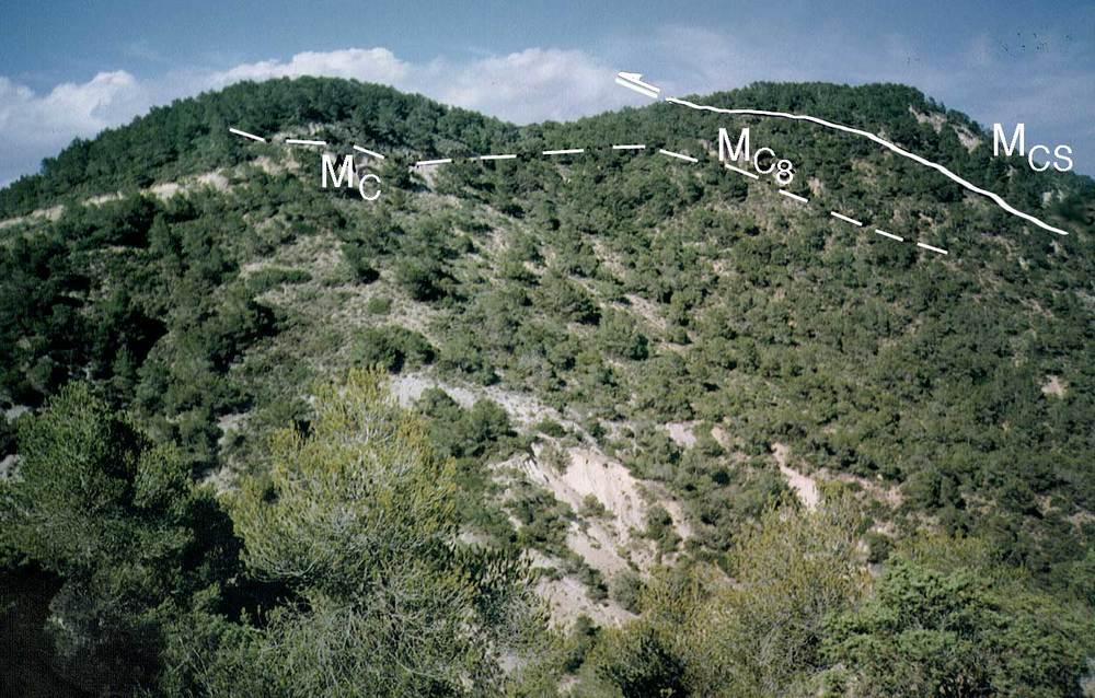 Geologia. Sèrie miocena cavalcada pel cretaci superior a sa Talaia de Sant Josep. Foto: Alberto Tostón Calle.
