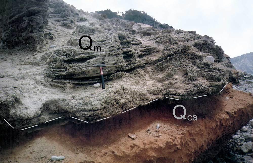 Geologia. Marès (unitat Qm) sobre ventall al·luvial (unitat Qca) al cap des Falcó. Foto: Alberto Tostón Calle.