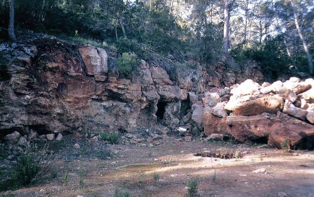 Geologia. Dolomies del lias (Jl) a les mines de s´Argentera, Sant Carles de Peralta. Foto: Alberto Tostón Calle.