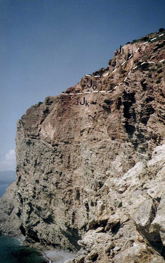 Geologia. Sèrie juràssica invertida del Jk, Jo i lias, as cap des Falcó. Foto: Alberto Tostón Calle.