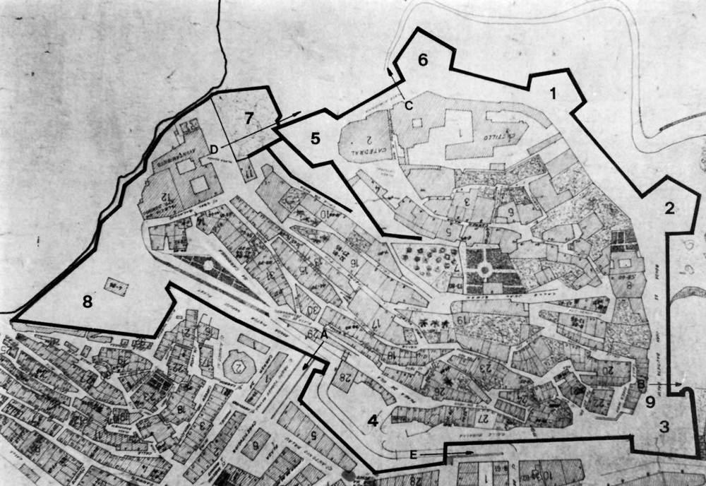 Ciutat d´Eivissa. Història i evolució urbana. Plànol de les murades renaixentistes d´Eivissa. Extret de <em>Las murallas de Ibiza </em>/ Eduardo J. Posadas López.