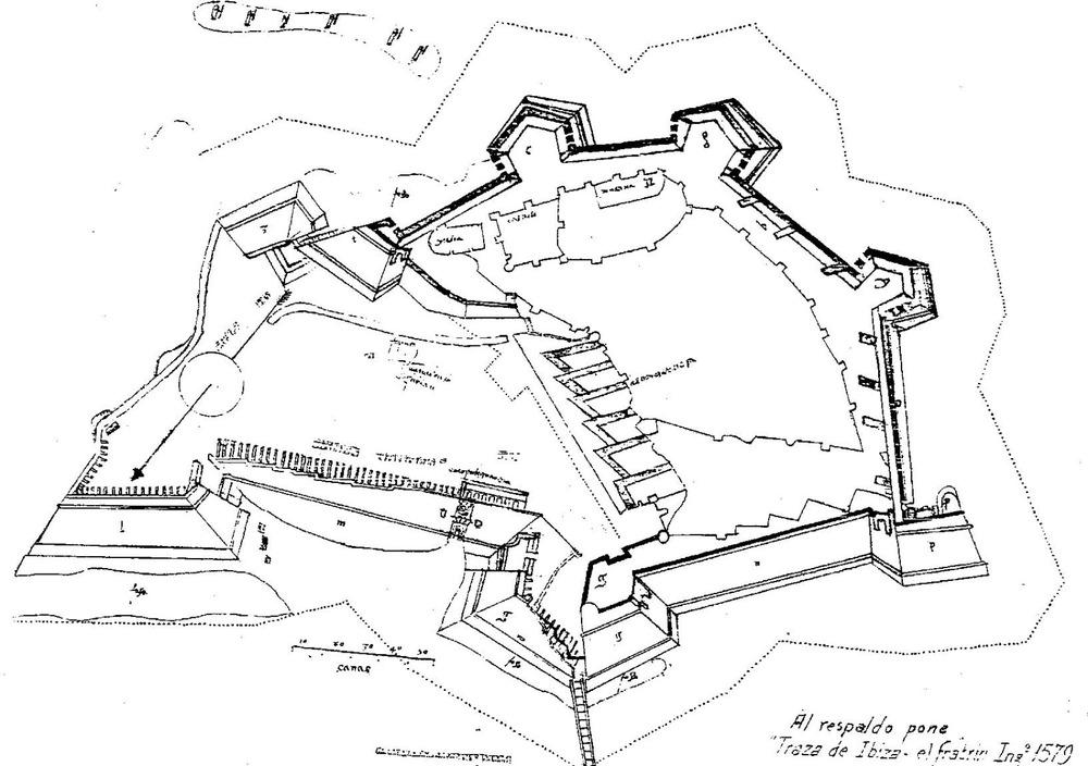 Corona d´Aragó. Plànol amb la proposta definitiva del traçat de les noves murades d´Eivissa, realitzat per Juan Alonso Rubián. Extret de <em>Las murallas de Ibiza</em> / Eduardo J. Posadas López.