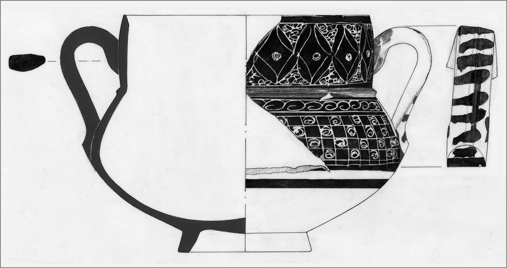 Època andalusina. Vas de ceràmica trobat a Eivissa i decorat amb la tècnica de l´esgrafiat, molt freqüent durant l´època almohade. Dibuix: Rosa Gurrea Barricarte.