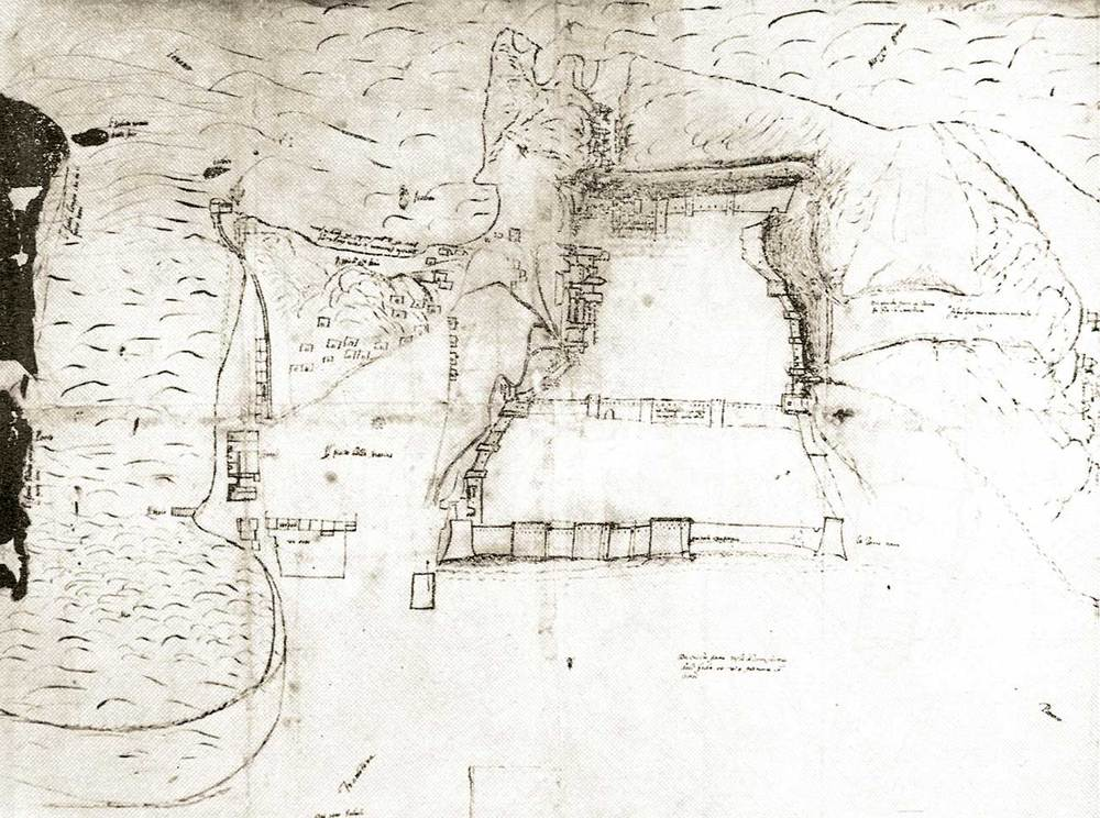 Època andalusina. Plànol de les murades d´Eivissa aixecat per G. B. Calvi a mitjan s. XVI; la major part del seu traçat té el seu origen a l´època andalusina, com va demostrar Antoni Costa Ramon. Extret de <em>La triple murada de l´Eivissa àrab</em>.