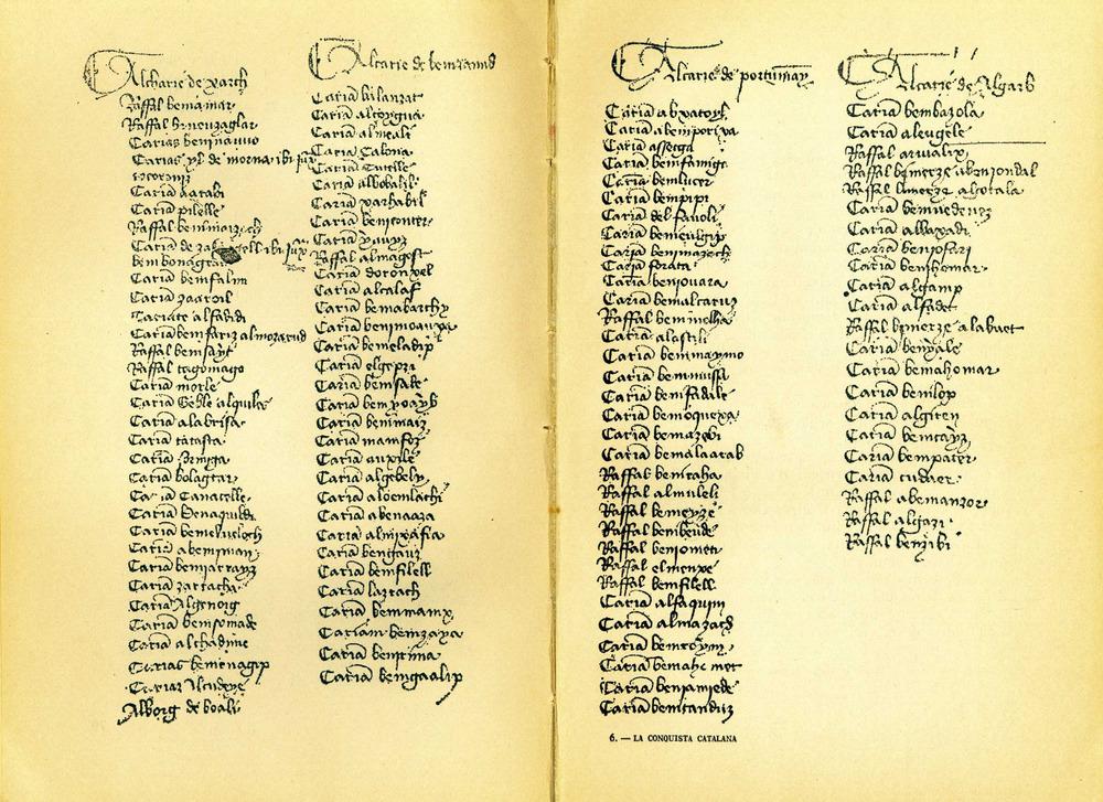 Època andalusina. Llistat que forma part del <em>Memoriale divisionis</em> i que inclou els noms àrabs i berebers de totes les alqueries, els rafals i altres propietats que trobaren a Eivissa les tropes catalanes en el moment de la conquista. Aquest document va servir de base a J. Marí Cardona per reconstruir els límits de les circunscripcions andalusines d´Eivissa. Extret de <em>La conquista catalana de 1235</em>.