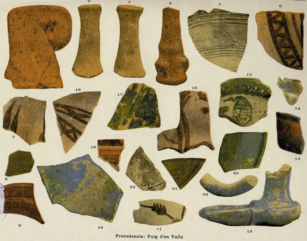 Època andalusina. Una de les làmines del llibre de Joan Roman Calvet <em>Los nombres e importancia arqueológica de las islas Pythiusas </em>(1906), en què apareixen diversos fragments de ceràmica andalusina trobats al puig d´en Valls.
