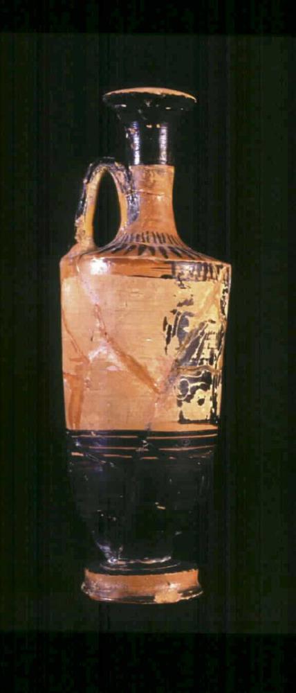 Època feniciopúnica. Lecite grec de figures negres per contenir oli perfumat. Principi del s. V aC. Foto: cortesia del Museu Arqueològic d´Eivissa i Formentera.