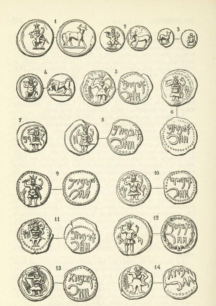 Època feniciopúnica. Làmina dedicada a les monedes punicoebusitanes de l´obra d´Àlvar Campaner Fuertes <em>Numismàtica balear</em>.