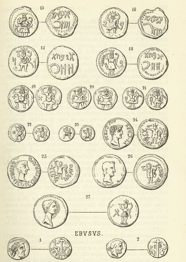 Època feniciopúnica. Làmina de l´obra d´Àlvar Campaner <em>Numismàtica balear</em> amb les monedes tardopúniques i romanes d´Eivissa.