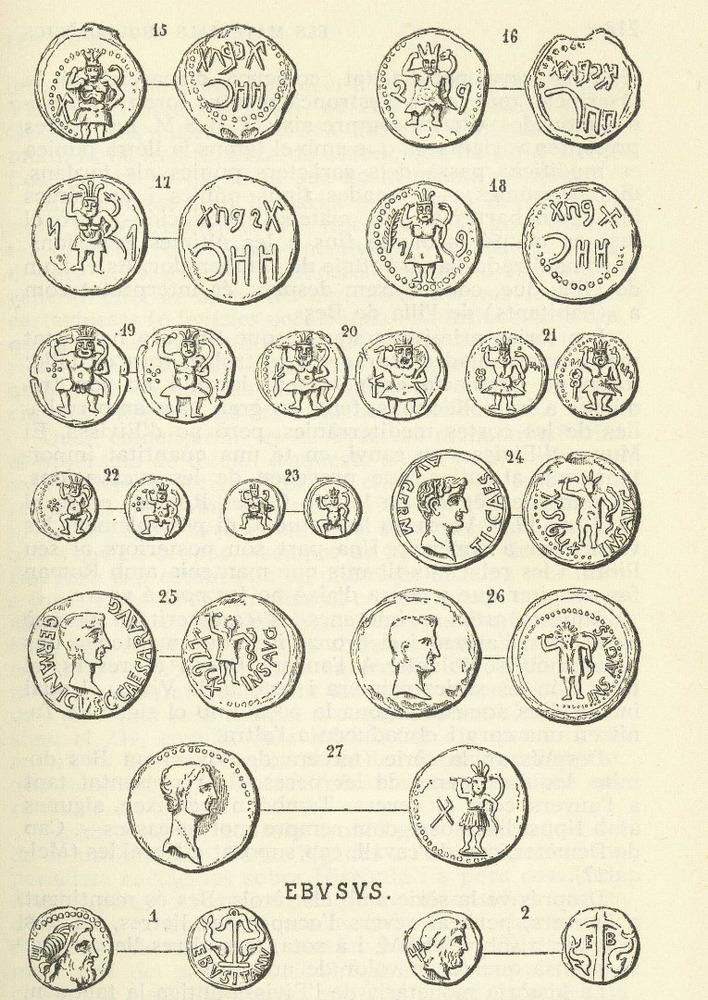 &Egrave;poca feniciop&uacute;nica. L&agrave;mina de l´obra d´&Agrave;lvar Campaner <em>Numism&agrave;tica balear</em> amb les monedes tardop&uacute;niques i romanes d´Eivissa.