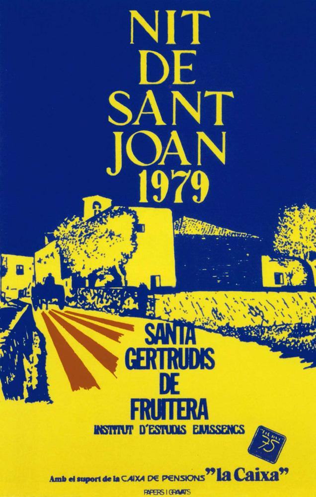 Història contemporània. La Festa de la Nit de Sant Joan, que s´inicià el 1971, ha significat una fita en la recuperació de la identitat pitiüsa. Disseny: Nèstor Pellicer. Papers i gravats.