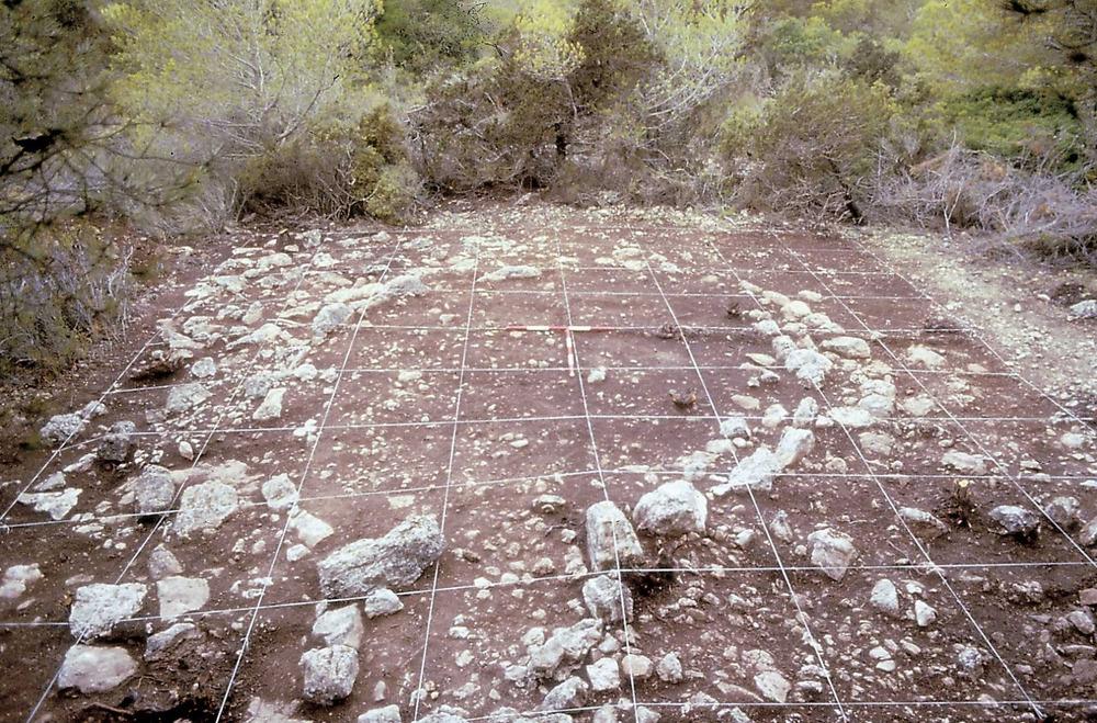 Prehistòria. Excavació del puig de ses Torretes el 1986. Cabana de planta gairebé circular, amb sòcol de pedra, de l´edat del bronze. Foto: Benjamí Costa Ribas.
