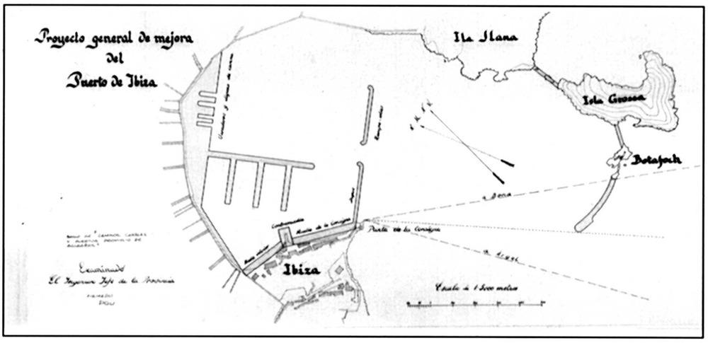 Projecte general de millores del port d´Eivissa, de 1890, obra de l´enginyer mallorquí Emili Pou. Extret de <em>150 anys d´Obres Públiques a les Illes Balears</em>.