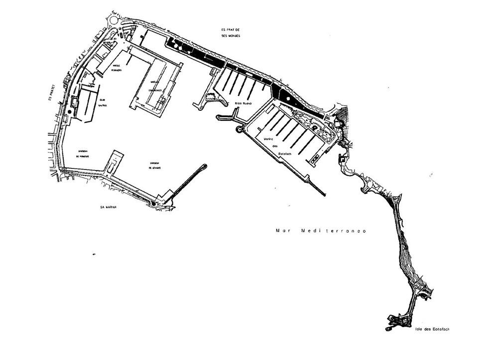 Plànol del port d´Eivissa de l´any 2000, abans de començar les obres del dic des Botafoc, que canviaren la fesomia de la badia d´Eivissa. Extret de <em>150 anys d´Obres Públiques a les Illes Balears</em>.