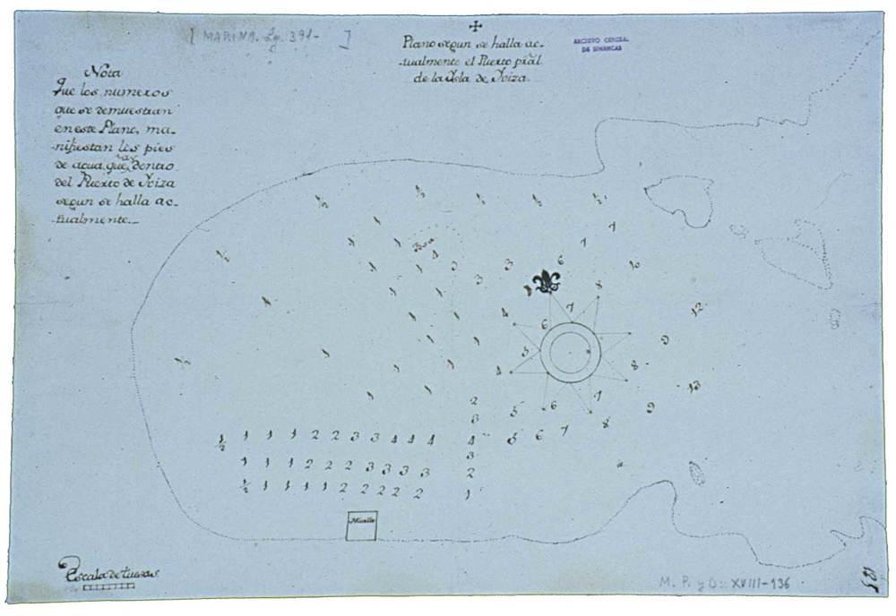"""Port d´Eivissa. Carta batimètrica, en peus castellans, elaborada el 1746 pel capità del port Jaume Planells """"Sit"""". Foto: cortesia de l´Archivo General de Simancas."""