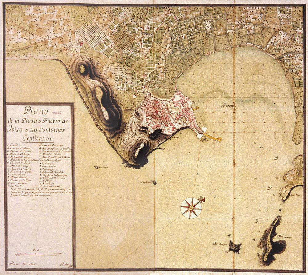 Plànol del port d´Eivissa amb la vila i els voltans, obra de Joan Ballester, 1752. Foto: cortesia de l´Archivo General de Simancas.