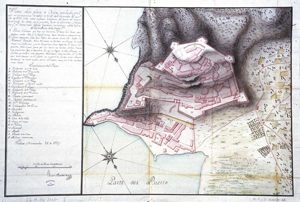 Plànol del port d´Eivissa de 1755, obra de l´enginyer Joan Ballester. Foto: cortesia de l´Archivo General de Simancas.