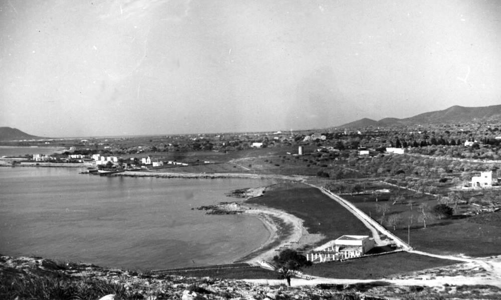 Ses Figueretes. Vista de la platja i camps de conreu, presa des del puig des Molins. Foto-Cine / Arxiu Històric Municipal d´Eivissa.