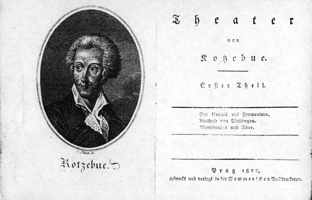 Formentera. Literatura. Portada del llibret de l´òpera <em>Der Eremit auf Formentera</em>, del dramaturg alemany August von Kotzebue.