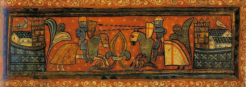 Formentera. Època medieval andalusina. Lluita entre un cavaller cristià, a la dreta, i un altre musulmà (pintura sobre una taula de l´enteixinat gòtic de l´Almudaina, Museu de Mallorca).