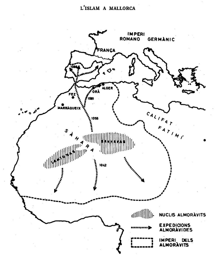 Formentera. Època medieval andalusina. Mapa de l´imperi almoràvit. Extret d´<em>Història de Mallorca</em>.