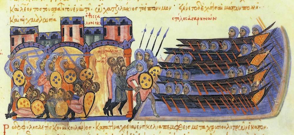 Formentera. Època medieval andalusina. Saqueig de Tesalònica pels àrabs (il·lustració del manuscrit <em>Skyllitzes Matritensis</em> dels s. XIII-XIV. Biblioteca Nacional. Madrid).