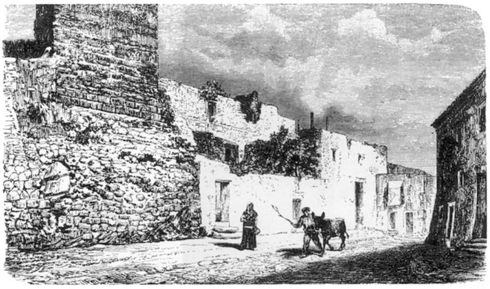 Litografia de l´antiga carnisseria, que la Il·lustració va construir per millorar l´abastiment d´aliments per a la població. Extret de <em>Les Antigues Pitiüses</em>.