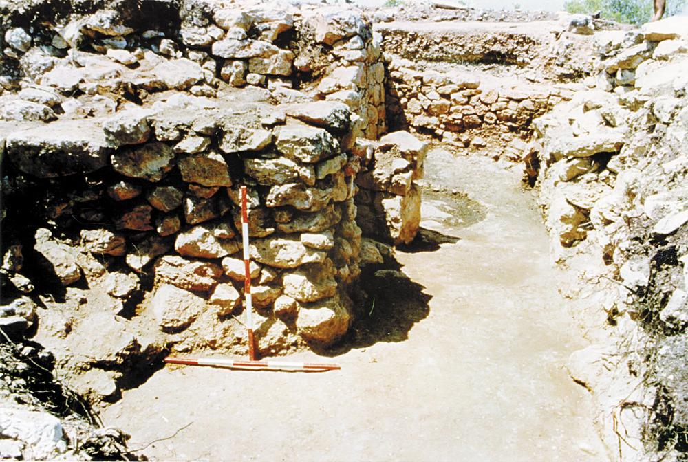 Cap des Llibrell. Les pilastres de la reforma altimperial que enterraren les estructures púniques. Foto: Joan Ramon Torres.
