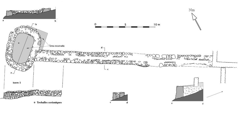 Planta i seccions de l´extrem de ponent de la fortificació, amb la torre 1 de les torres d´en Lluc. Dibuix: Joan Ramon Torres.