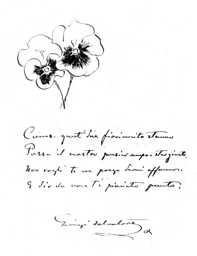 Dibuix i poema originals de Lluís Salvador d´Àustria.
