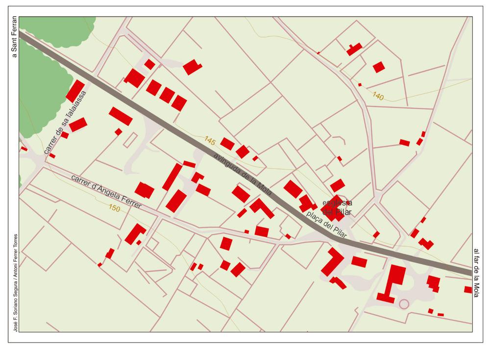 Mapa del nucli urbà del Pilar de la Mola. Elaboració: José F. Soriano Segura / Antoni Ferrer Torres.