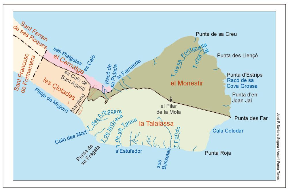 Mapa de les véndes de la Mola. Elaboració: José F. Soriano Segura / Antoni Ferrer Torres.